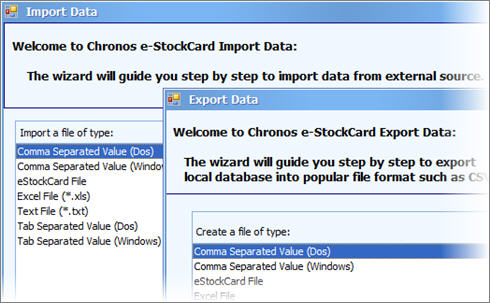 eStockCard Inventory Software provides simple tools in data management to import and export data.