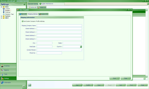 Supplier shipping address inventory software