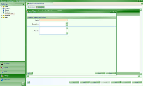 Operation Task inventory software